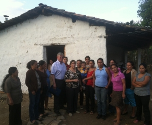 Richard Fox and Lisa Kubiske (center) visit with clean cookstove beneficiaries in Honduras.