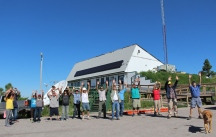 Lead Instructor, Henry Red Cloud, leads a prayer and blessing for energy sovereignty for Native peoples.