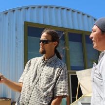 Jeff Tobe shares his extensive knowledge of solar energy with student Hazen Lamere, a member of the Sisseton-Wahpeton Dakota.