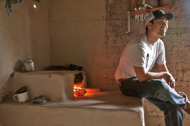 Sebastian Africano with clean cookstove
